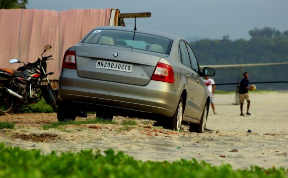 Skoda Rapid beach pic